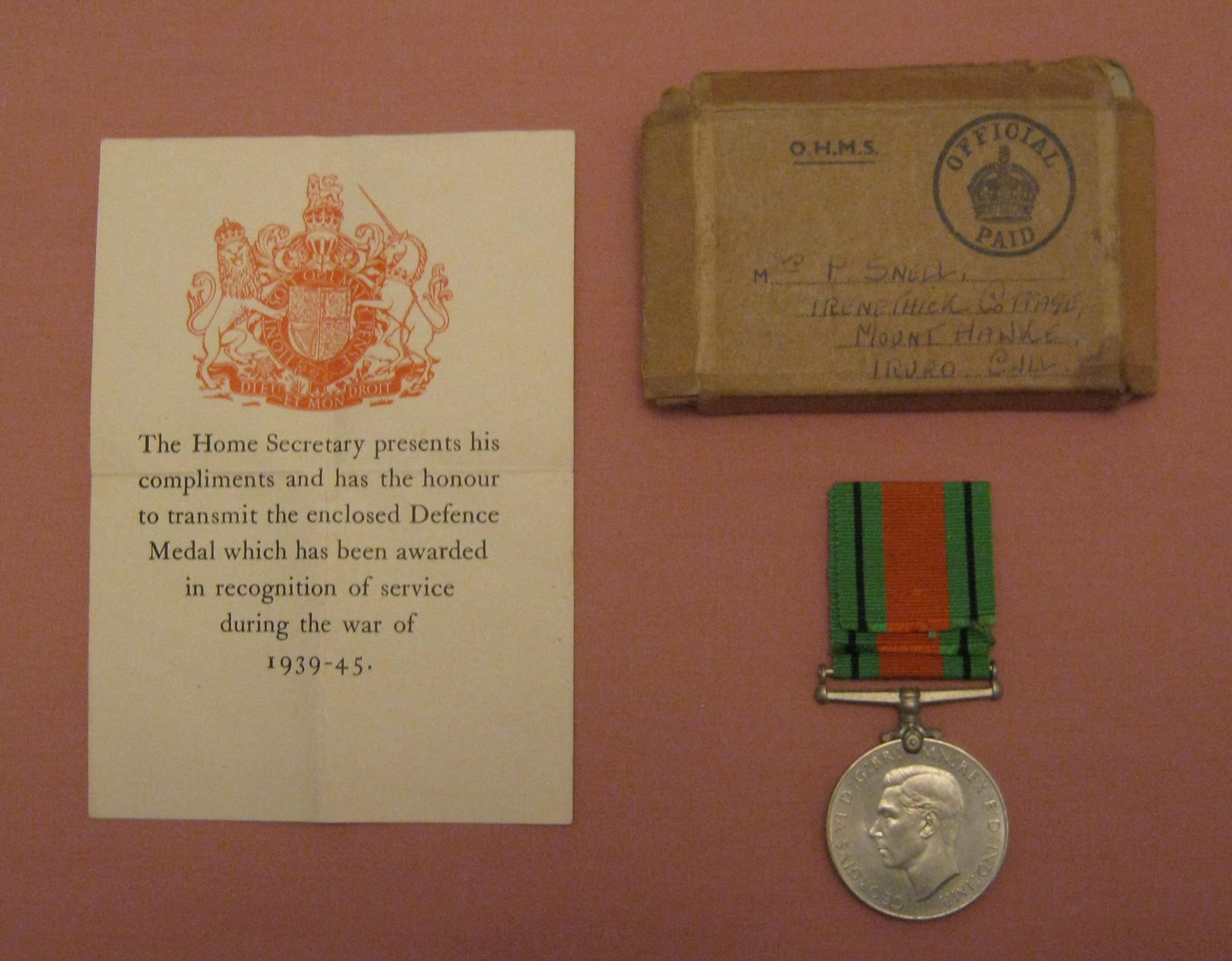 WWII Defence Medal, awarded to Mrs Philadelphia Snell