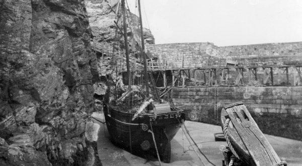Ship in St Agnes Harbour, c1907